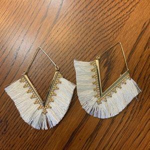 Gold Fringe Dangle Earrings Off White